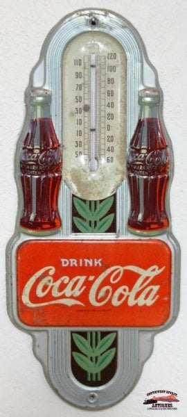Rare 1941 Silver Twin Bottle Coca Cola Thermometer General Store & Lighting