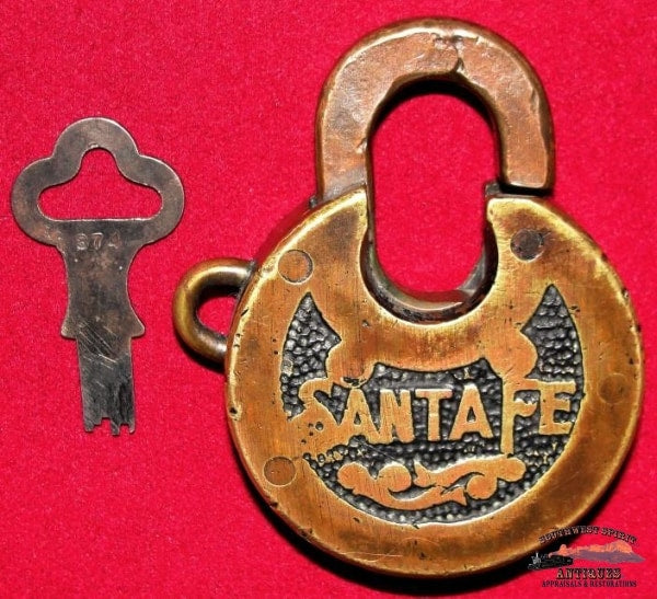 Santa Fe Railway Antique Brass 6 Lever Miller Pancake Lock & Key Railroadiana
