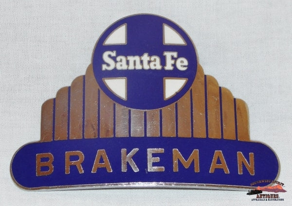 Santa Fe Railway Silver High Dome Brakeman Hat Badge Railroadiana
