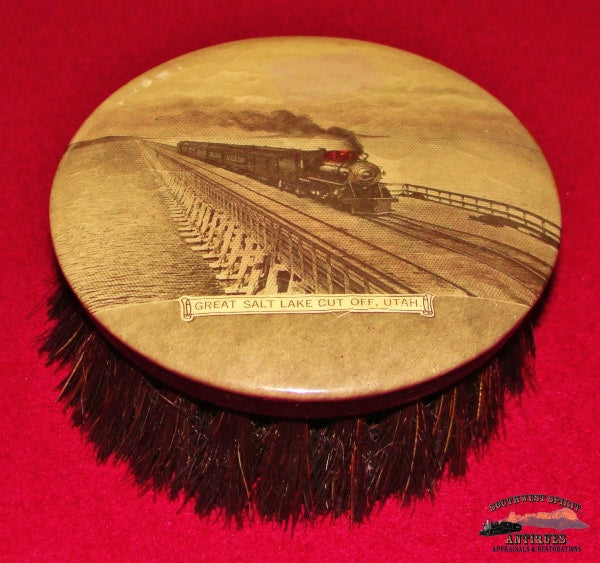 Sprr - Southern Pacific Railroad Celluloid Lithograph Clothes Brush Great Salt Lake Utah