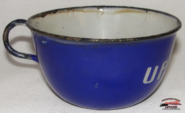 Late 1800's Union Pacific Railroad Cobalt Blue Porcelain Enameled Cup
