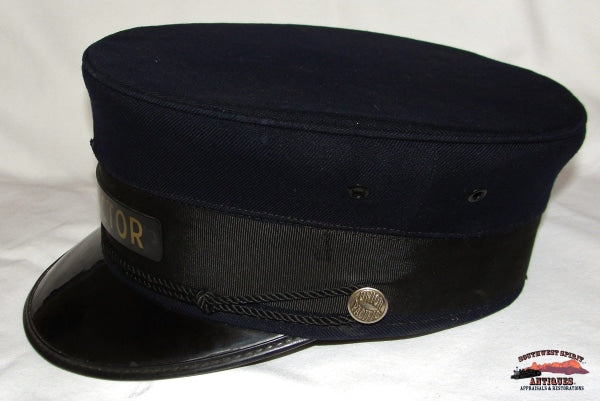 Union Pacific Railroad Dark Blue Pillbox Style Conductor Hat Size: 7 1/8