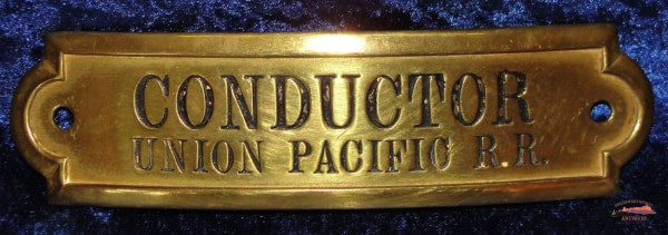 Union Pacific Railroad Gold Rectangular Conductor Hat Badge Railroadiana