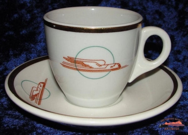 Uprr Winged Streamliner Pattern Demitasse Set Railroadiana