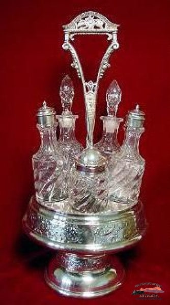 Victorian 5 Bottle Silverplate Castor Set Glassware-China-Silver