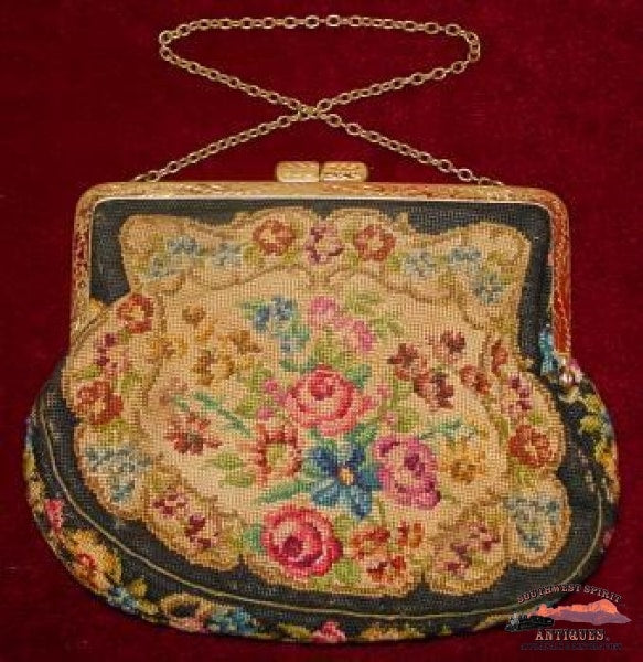 Victorian Floral Pattern Petit Point Purse Collectibles-Toys-Games