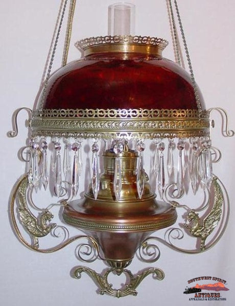 Victorian Hanging Parlor Lamp W/ Amberina Quilted Shade General Store & Lighting