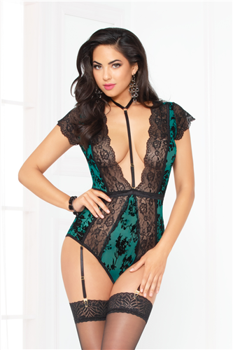 Green & Black Lace Teddy