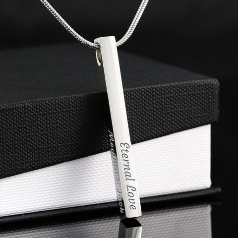 "Silver or Gold ""Engravable""Horizontal Bar Necklace (engravable on all 4 sides)"