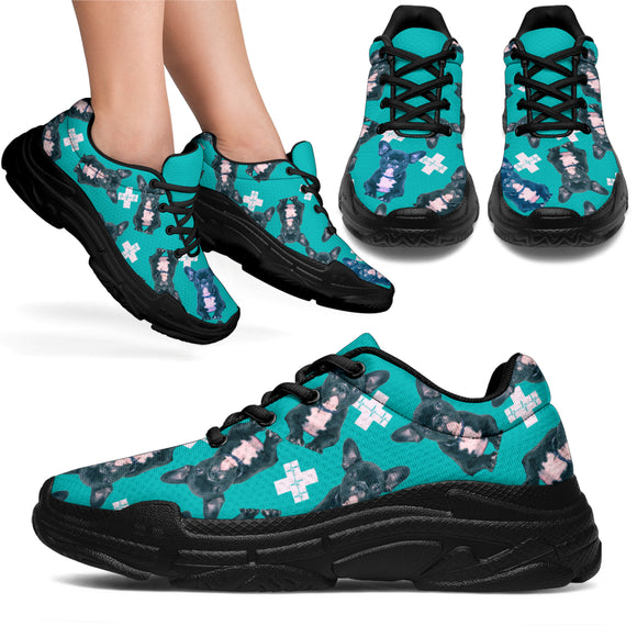 Frenchy the Bulldog Medic Womens Chunky Sneaker - Teal