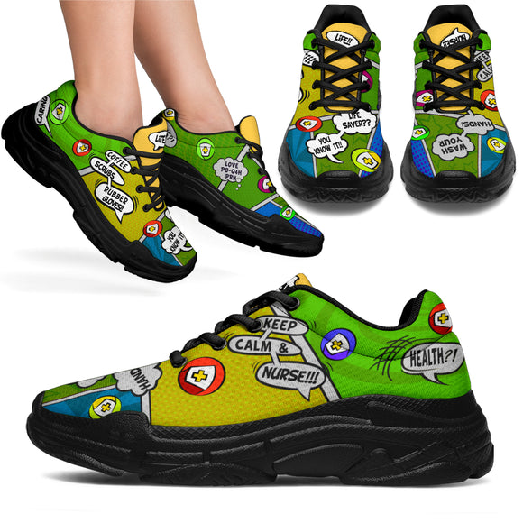 Cartoon Bubble LemonLime Scrub Nurse™ Chunky Sneaker
