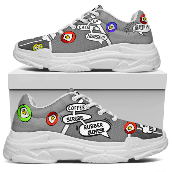 Cartoon Bubble Stormy Nurse™ Chunky Unisex Sneaker