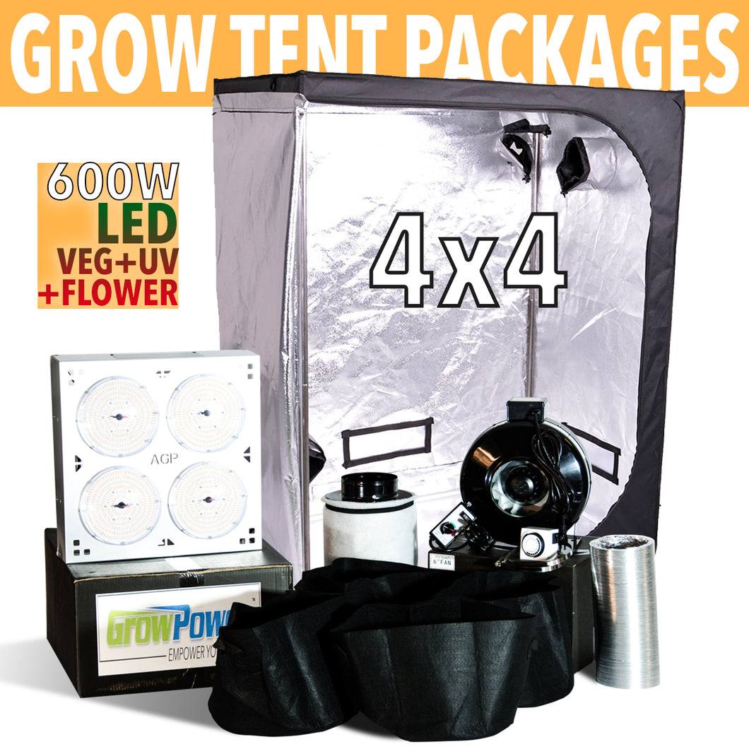 GrowPower Grow Tent Package with 4-BANGER 600W LED Grow Light