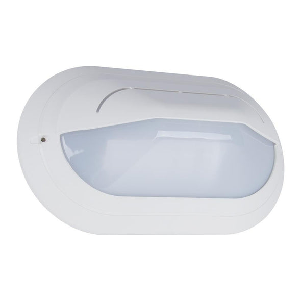 Wall Bunker Light Exterior Oval Eyelid in Black or White 30cm Domus Lighting