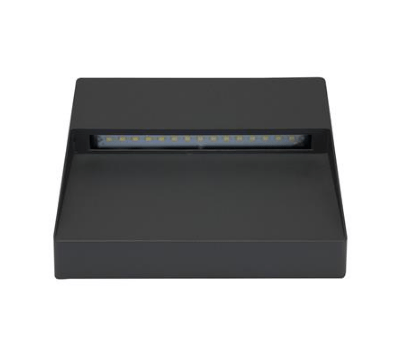LED Wall Light Exterior Surface Mount Square 9W in Silver or Dark Grey Zeke Domus Lighting | Alpha Lighting & Electrics