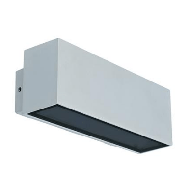 LED Wall Light Twin Silver or White in 3K and 5K in 12W Block Wide Domus Lighting
