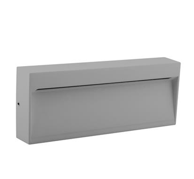 LED Step Light Outdoor Rectangle 3K and 5K in Silver Dark Grey or White in 6W 20cm Zeke Wide Domus