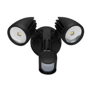 LED Spot Light Twin Outdoor w Sensor 30W in Black Silver or White 27cm in 5K Muro Dumos Lighting