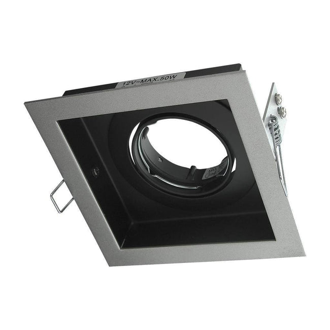 Downlight Fitting Square MR16 in Silver or White 12cm Slotter Domus Lighting | Alpha Lighting & Electrics