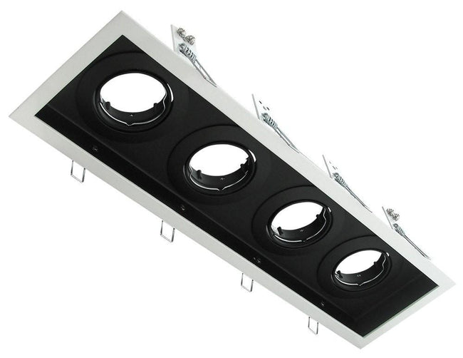 Downlight Fitting Rectangle Four MR16 in Silver or White 43cm Slotter Domus