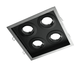 Downlight Fitting Square Four MR16 in Silver or White 23cm Slotter Domus Lighting