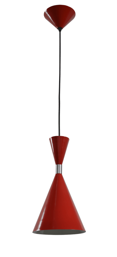 CLA Lighting Modern Cone Shaped Pendant in Red and White Aluminium