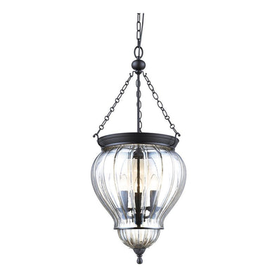Domus Lighting DIANA Lantern Pendant Black with Clear Glass 240V - 3 x e14