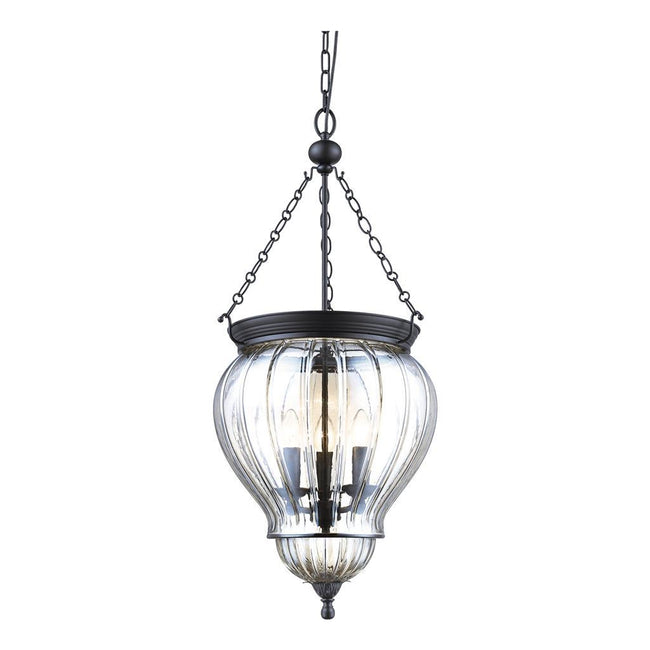 Domus Lighting DIANA Lantern Pendant Black with Clear Glass 240V - 3 x e14 | Alpha Lighting & Electrics