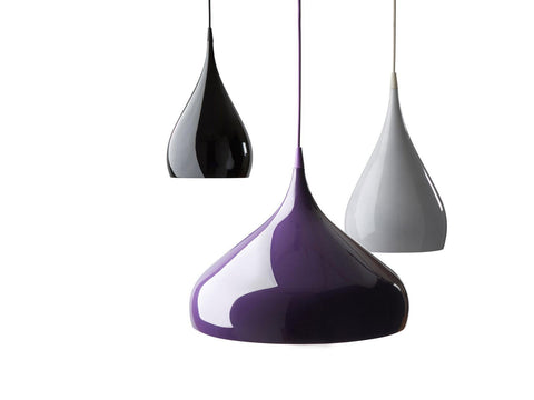 Benjamin Hubert Spinning Pendant Light BH2 Black White Purple 41cm - Alpha Lighting & Electrics