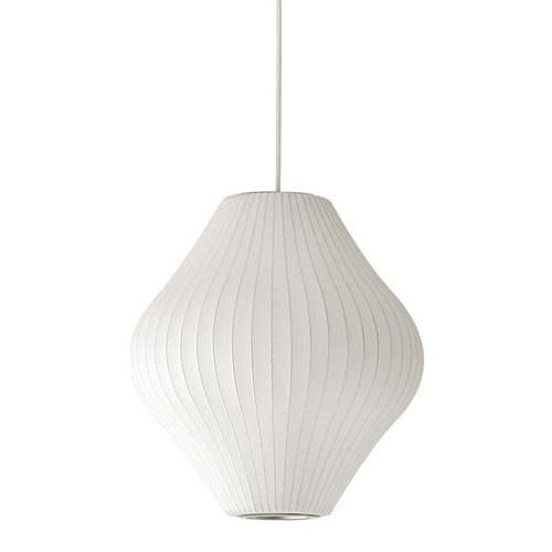 George Nelson Bubble Lamp Pear Pendant Light White 40cm - Alpha Lighting & Electrics