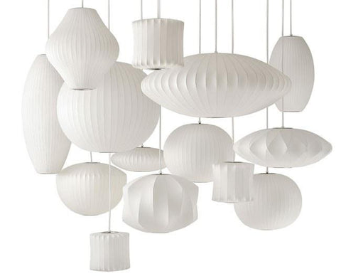 George Nelson Saucer Bubble Pendant Lamp Light White 40cm or 63cm - Alpha Lighting & Electrics