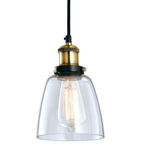 Pendant Light Metal Industrial Vintage Glass 14cm in Black - Alpha Lighting & Electrics