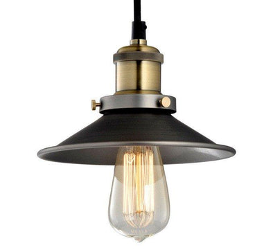Pendant Light Metal Black Industrial Vintage 21CM - Alpha Lighting & Electrics