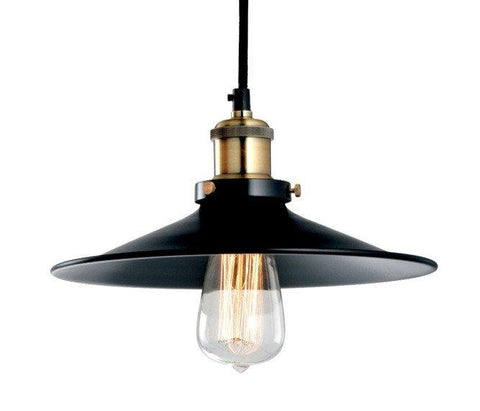 Pendant Light Metal Industrial Vintage Glass 26cm in Black - Alpha Lighting & Electrics
