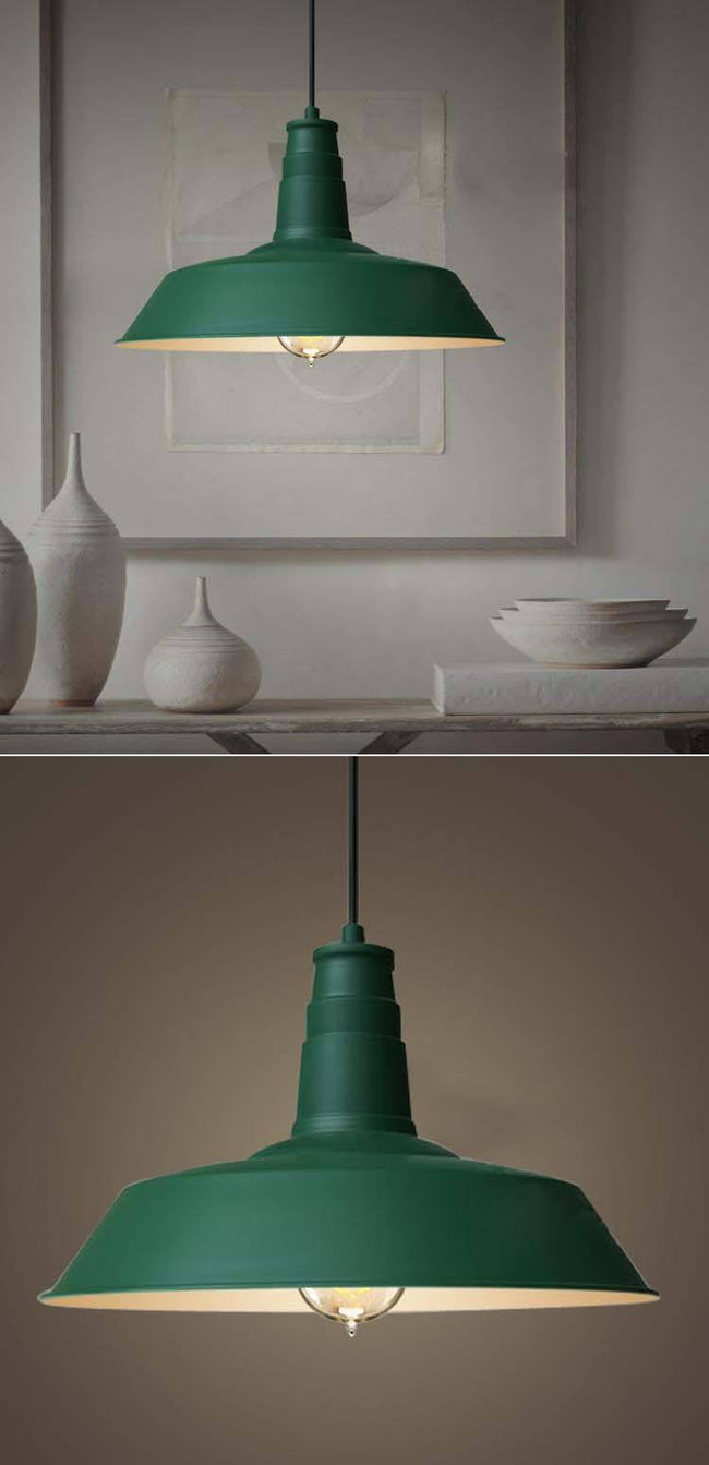 Pendant Light Metal Industrial Funnel Lamp in Black Green or White - Alpha Lighting & Electrics
