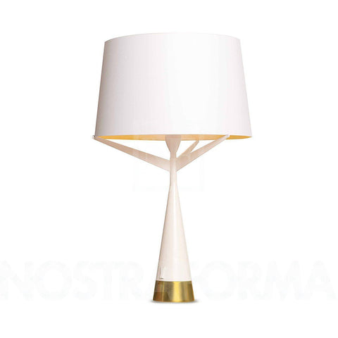 S71 Table Lamp WhiteGold Metal Fabric - Alpha Lighting & Electrics