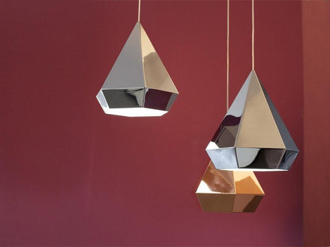 Sebastian Scherer Diamond Pendant Lamp in Black Chrome Gold or White - Alpha Lighting & Electrics