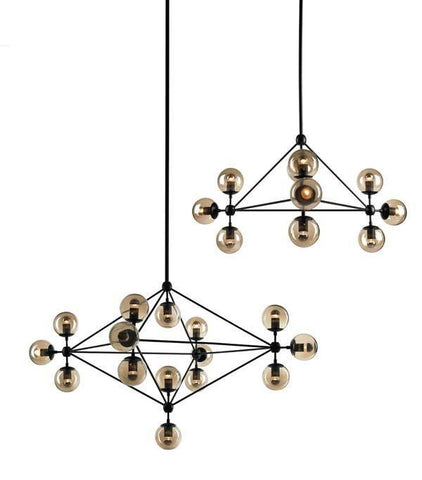 Roll & Hill Jason Miller Modo Chandelier Light Black in 125cm - Alpha Lighting & Electrics