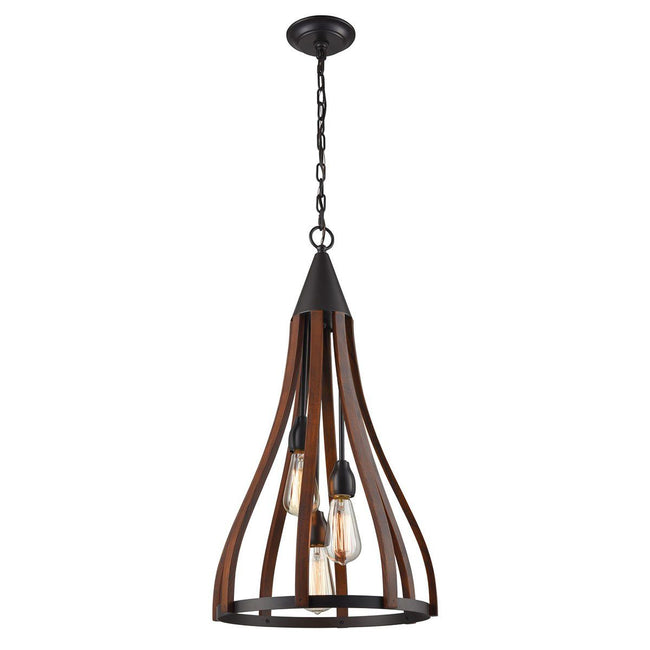 CLA Lighting Khaleesi 3 Light Dark Red Timber Pendant