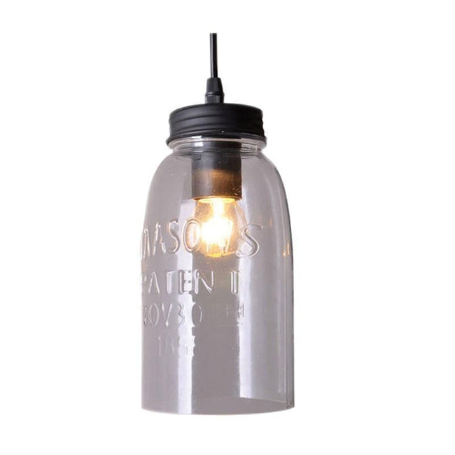 Pendant Light Clear or Green Jar Glass E27 in 23cm Mason Oriel Lighting - Alpha Lighting & Electrics