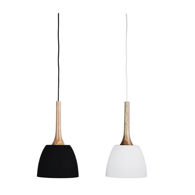 Pendant Light Black or White E27 in 42cm Malt Oriel Lighting - Alpha Lighting & Electrics