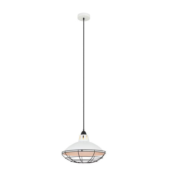 Pendant Light Matt White w Cage E27 in 42cm Idaho Oriel Lighting - Alpha Lighting & Electrics