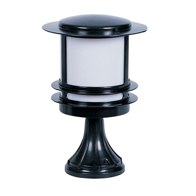 Tokyo Pillar Round Post Bollard Light In Black IP44 Oriel Lighting - Alpha Lighting & Electrics