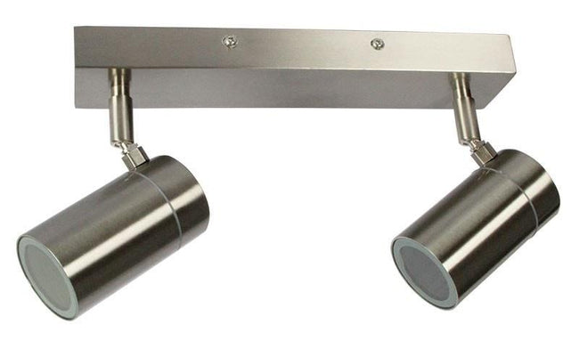 Spot Light Double Outdoor Adjustable Stainless Steel GU10 in 30cm Zeta Oriel Lighting - Alpha Lighting & Electrics