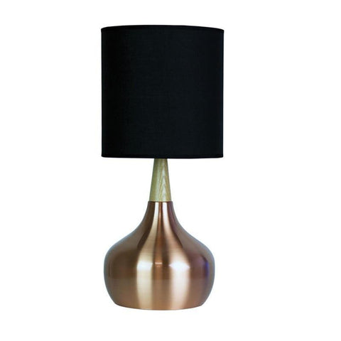 Touch Table Lamp in Black Copper or White E27 46cm Pod Oriel Lighting - Alpha Lighting & Electrics