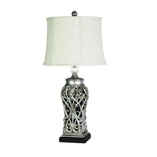 Table Lamp Antique Silver or Antique Black E27 in 71cm Dorne Oriel Lighting - Alpha Lighting & Electrics