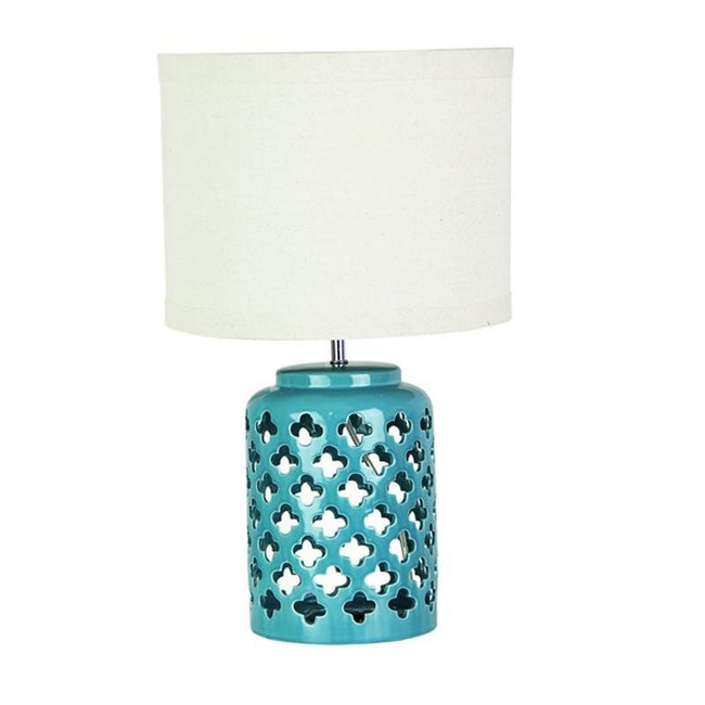 Table Lamp in Teal or White Base w Beige Shade 51cm Casbah Oriel Lighting - Alpha Lighting & Electrics