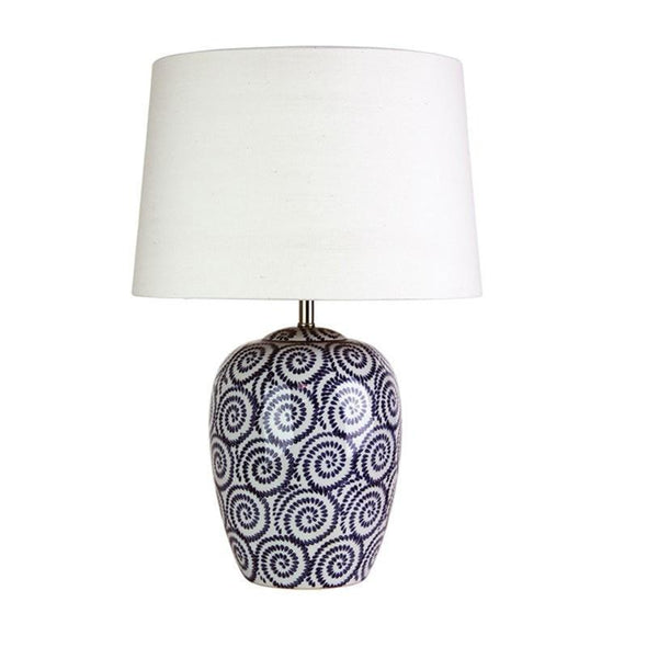 Table Lamp Bone & Federal Blue E27 in 53cm Pippi Oriel Lighting - Alpha Lighting & Electrics