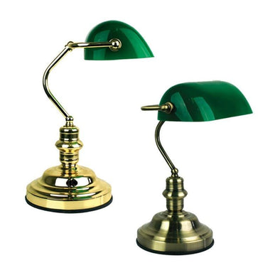 Table Lamp Brass w Green Glass B22 in 40cm Bankers Oriel Lighting - Alpha Lighting & Electrics
