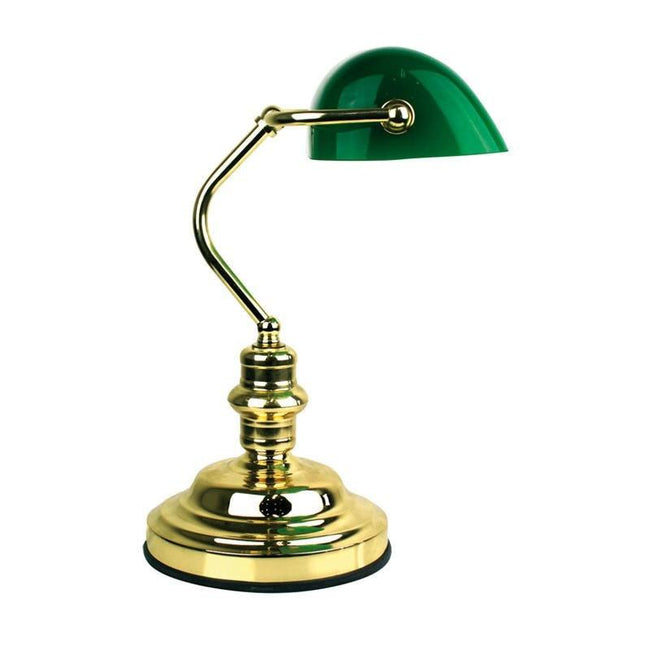 Table Lamp 3 Stage Touch Dimmer w Glass Shade 40cm Bankers Oriel Lighting - Alpha Lighting & Electrics